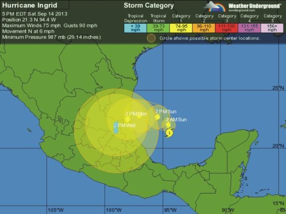 pronostico 5 dias tormenta tropical Ingrid mn2 ind