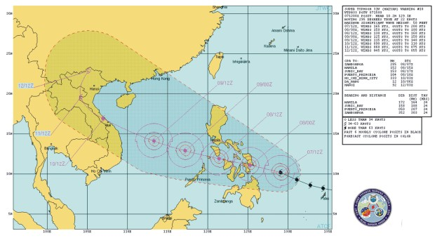 Super Tifón Haiyan Filipinas trayectoria  Ind wp